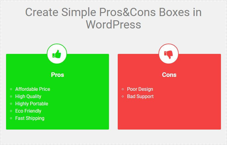 Pros & Cons Boxes WordPress