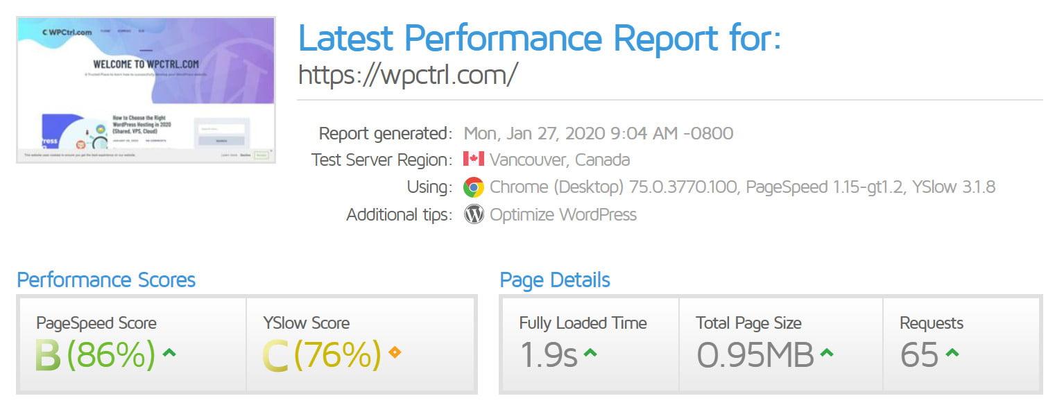 GTMetrix website speed score - wpctrl.com